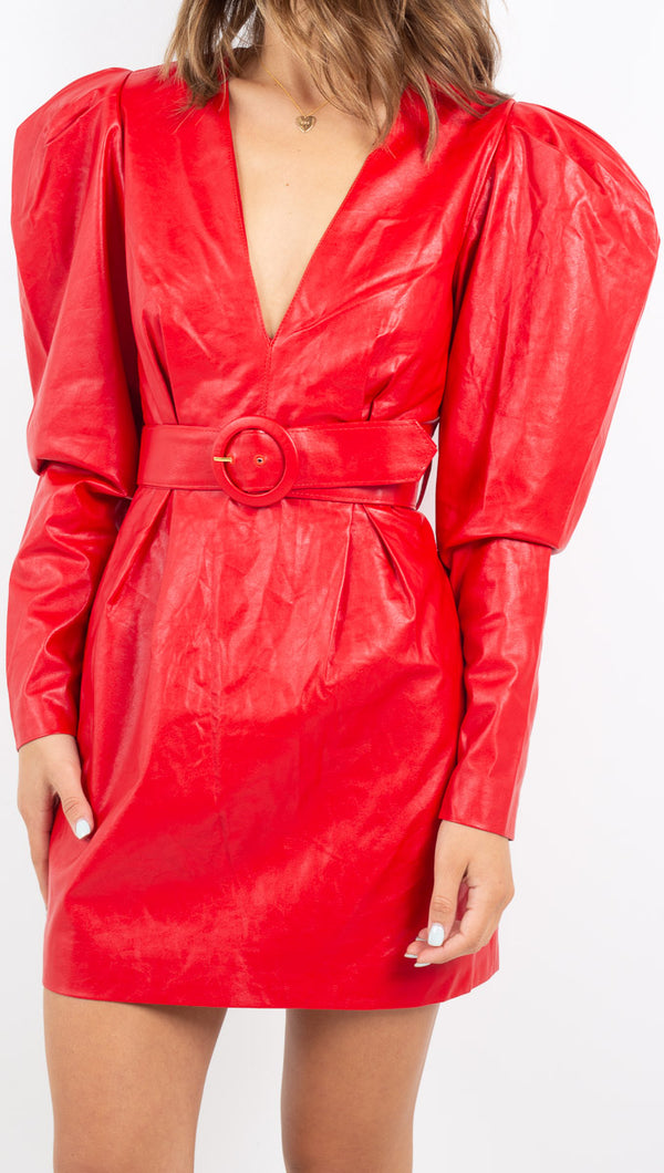 Guilia Pleather Dress - Red