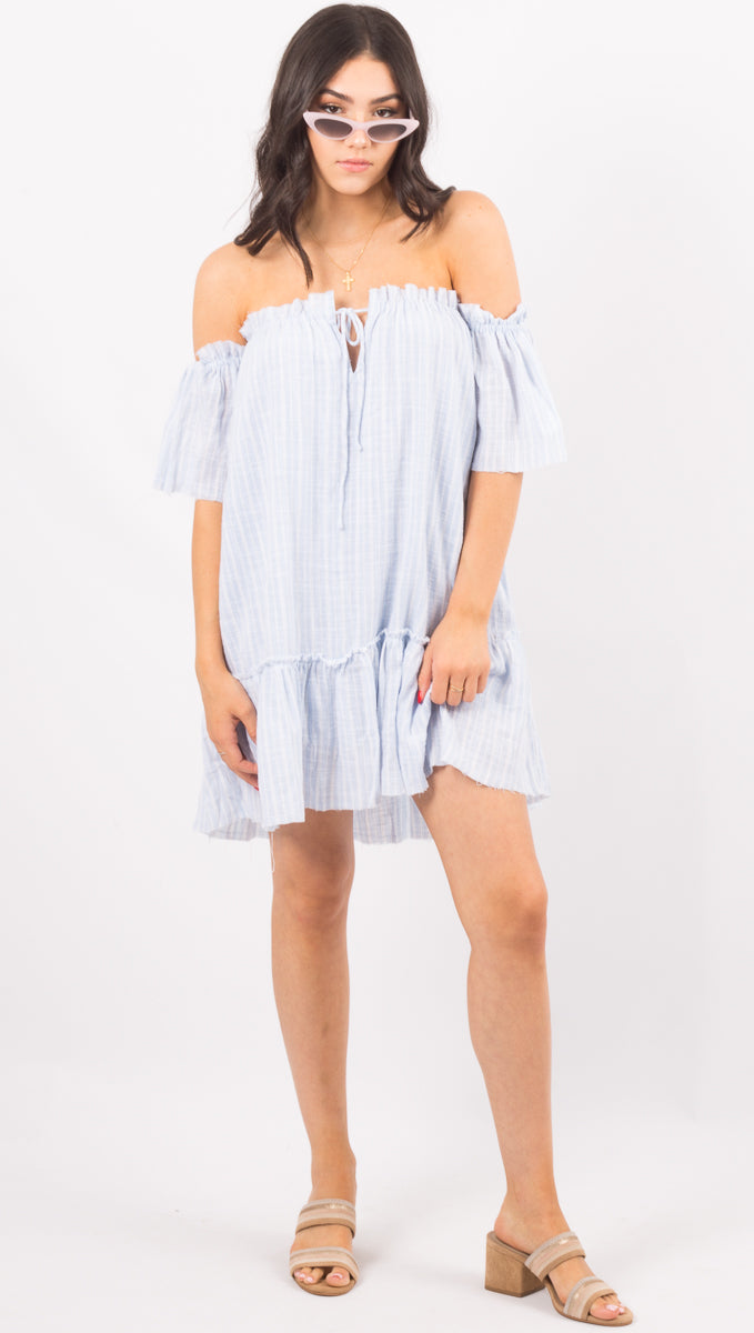 Rue Stiic Blue Stripe Off The Shoulder Mini Dress