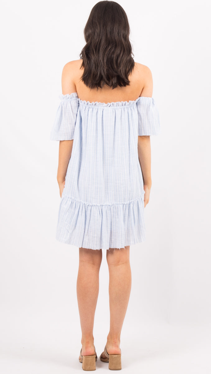 Camino Off Shoulder Dress - Bluebell Stripe