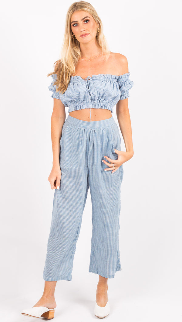 Rue Stiic Blue/White Stripe High Waist Pants
