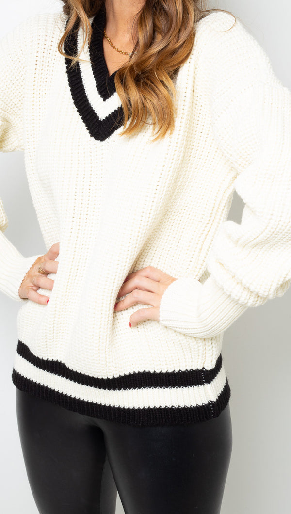 Rue Stiic White and Black V Neck Knit Sweater