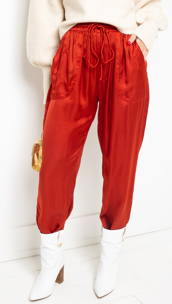 Rue Stiic Red Silk Pant