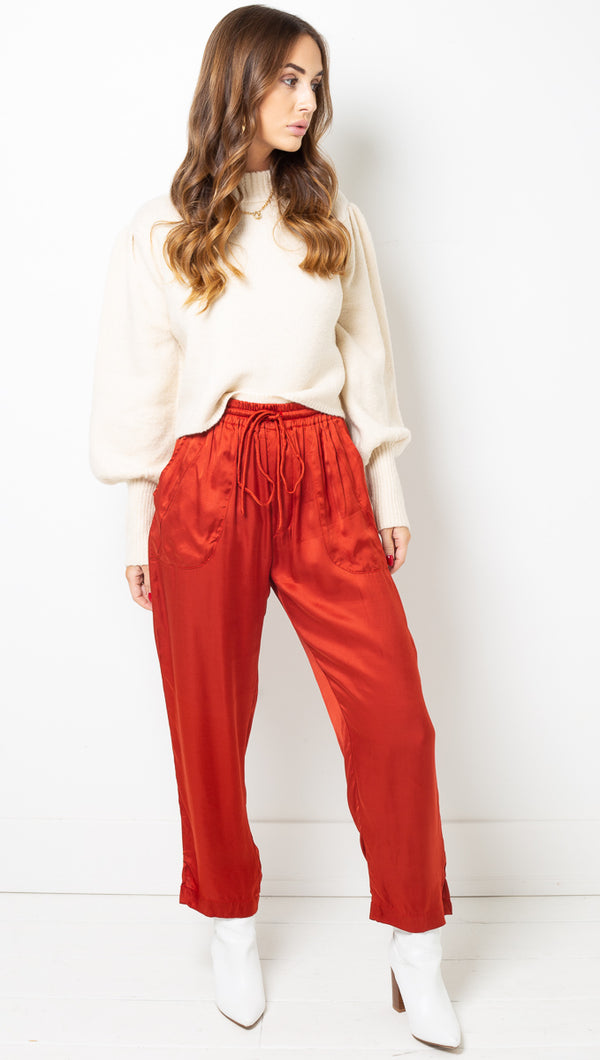 April Button Pant - Rust