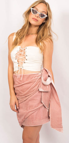 Pink Velvet Mini Skirt with Bow Tie