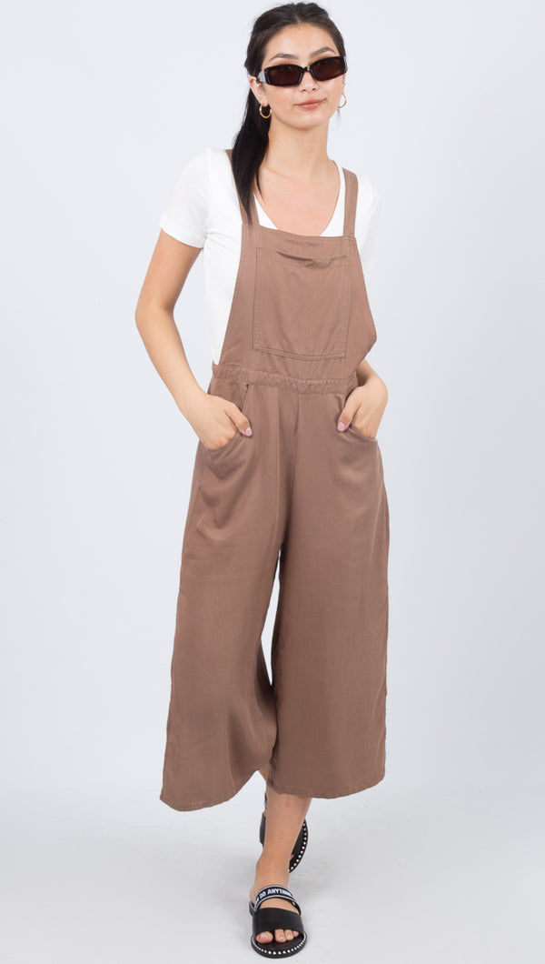Rusty Tan Linen Overalls with Pockets