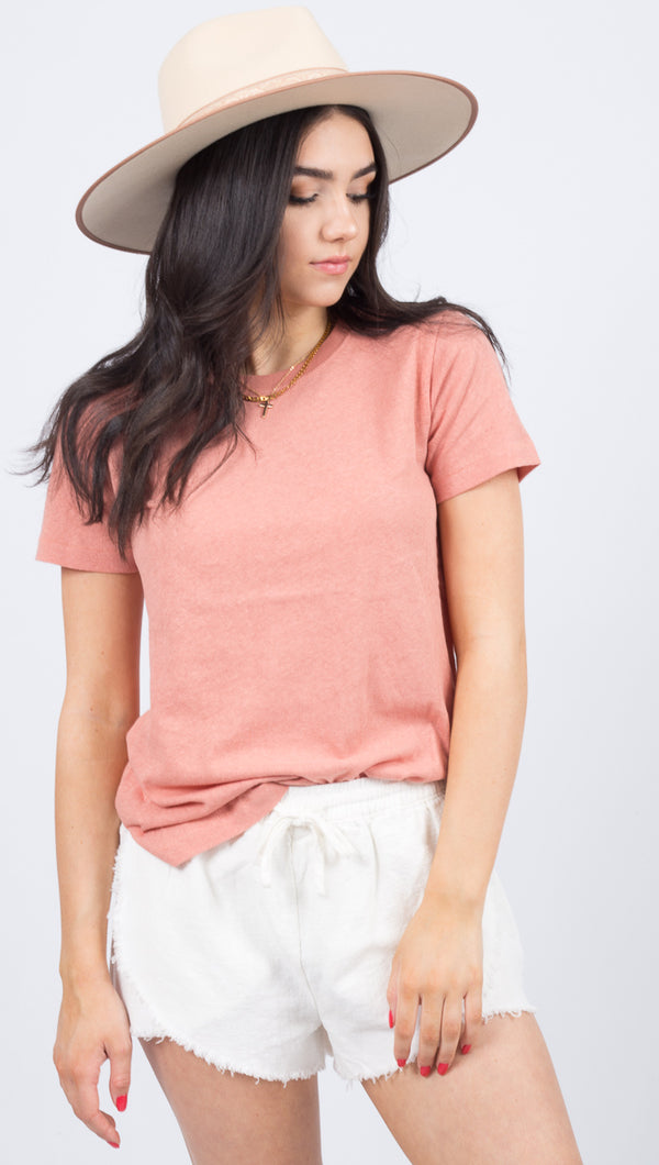 Bare Crew Neck Short Sleeve - Rose Dawn