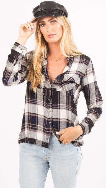 Rusty Black And White Plaid Flannel