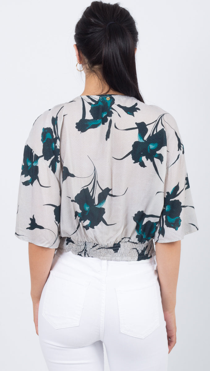 Earning Flowers Lace Up Top - Sphinx