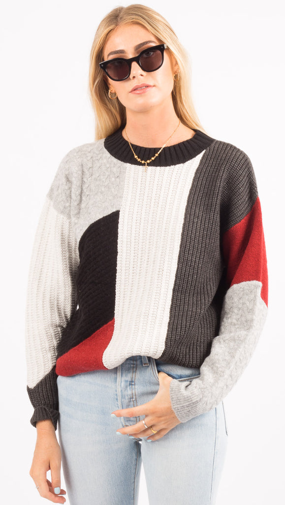 Rusty Color Block Sweater