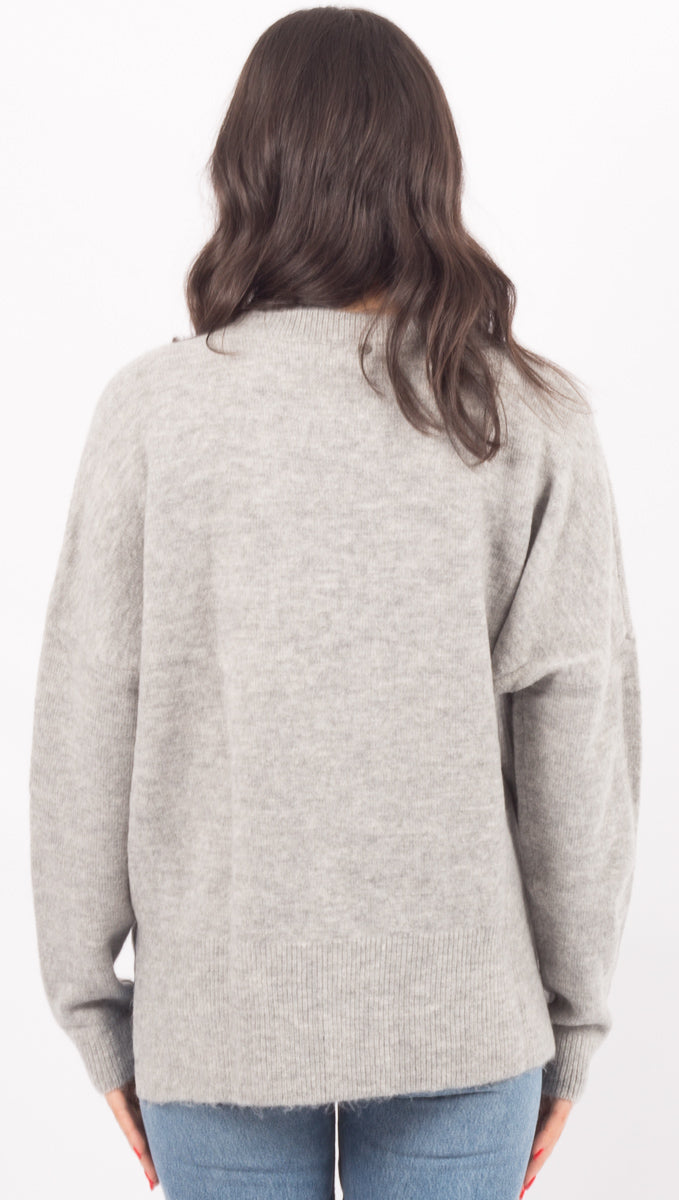 Primary Crew Neck Knit - Grey Marle