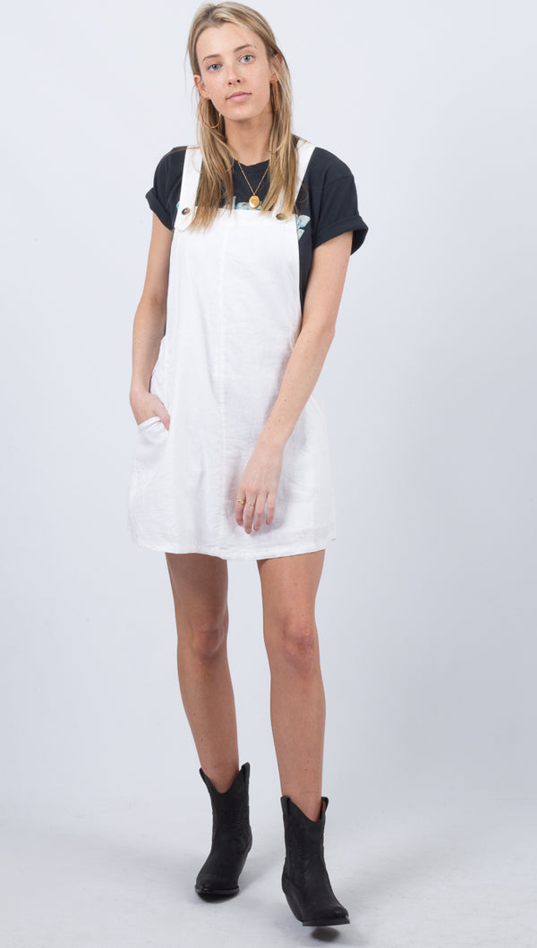 Troublemaker Pinny Dress - White