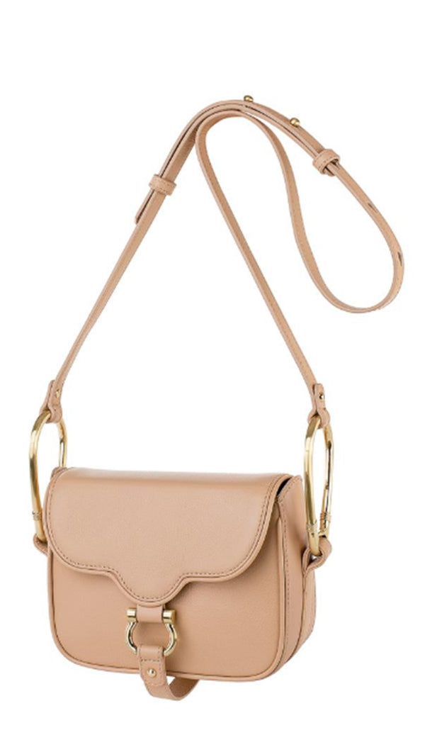 Sancia Nude Leather Mini Crossbody Bag
