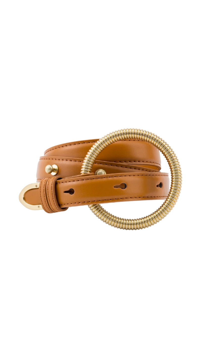 Sancia tan leather belt with gold buckle