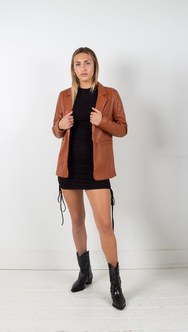 Asha Vegan Leather Jacket - Camel Brown