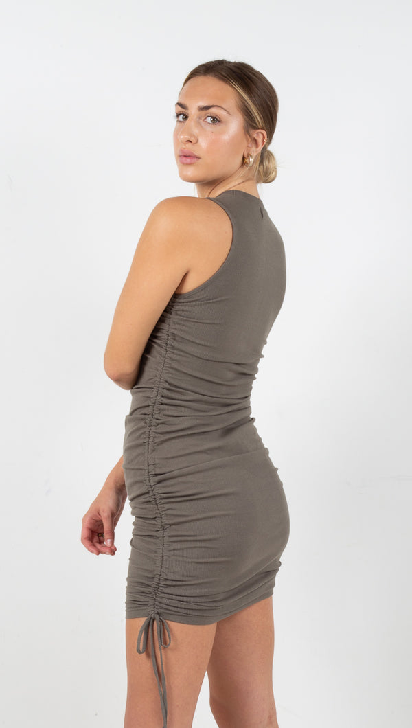 Marie Ribbed Mini Dress - Olive