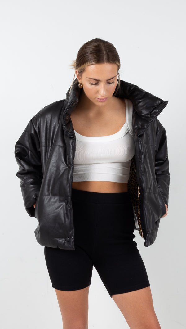 Frankie Vegan Leather Puffer Jacket - Black