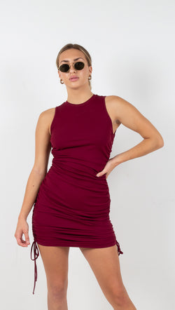 Marie Ribbed Mini Dress - Burgundy