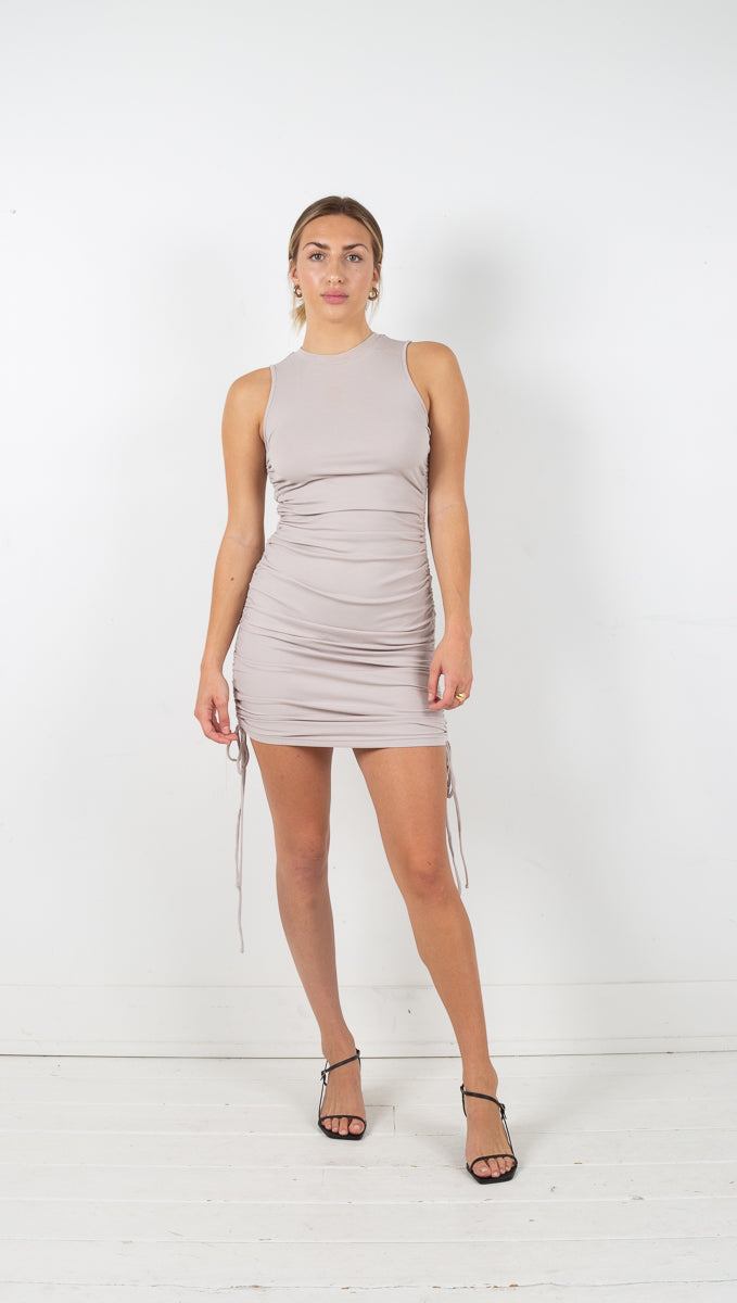 Marie Ribbed Mini Dress - Taupe