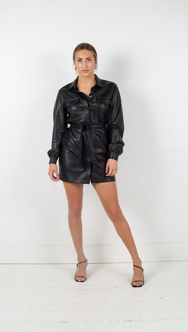 Alexandria Vegan Leather Dress - Black