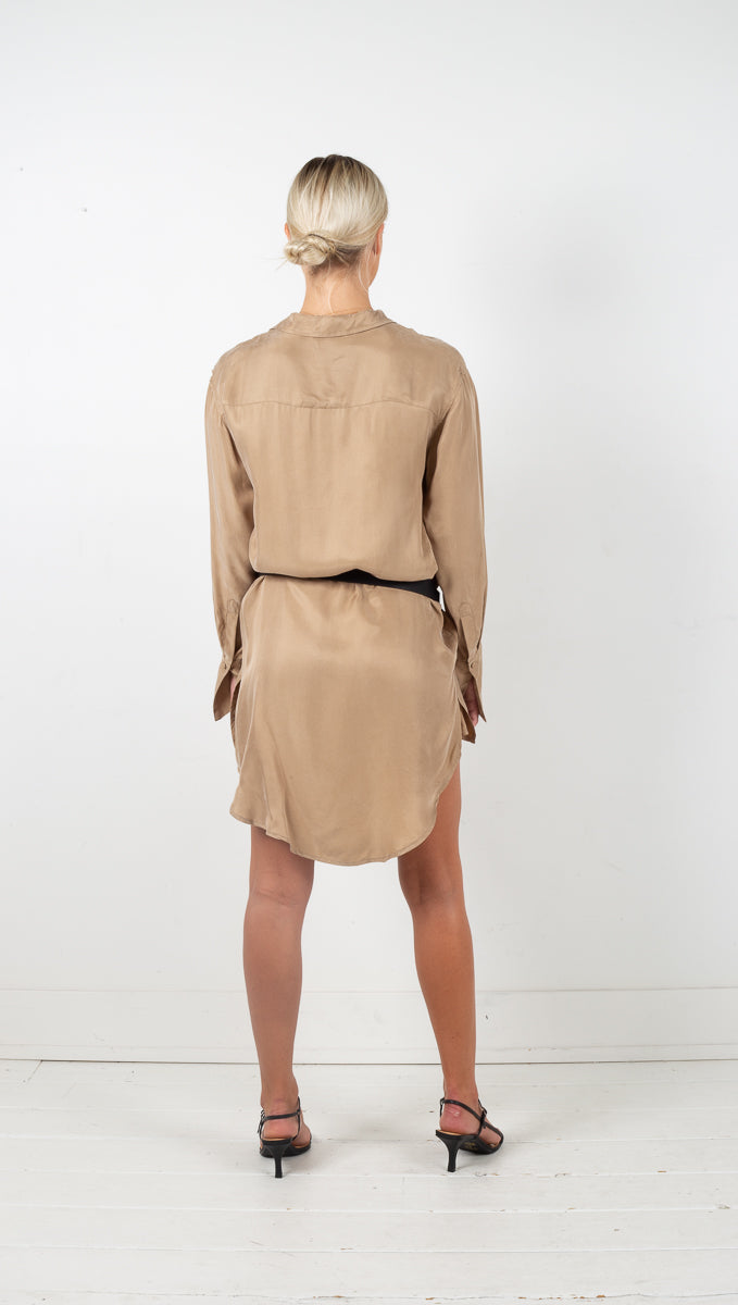 Shadow Play Oversized Shirt Dress - Clay