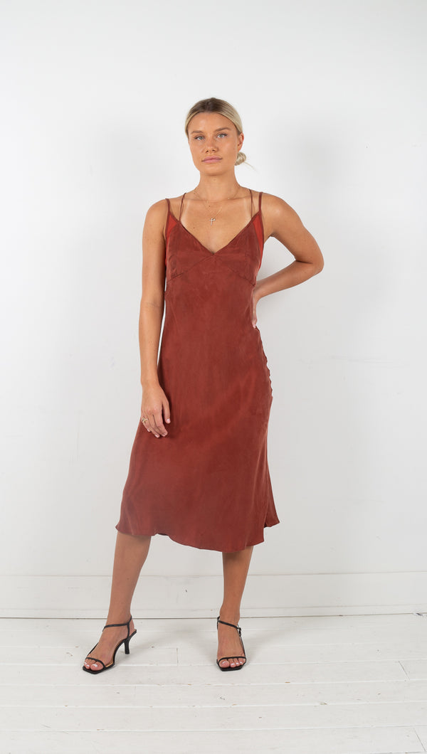 third form shadow play bias slip dress rust