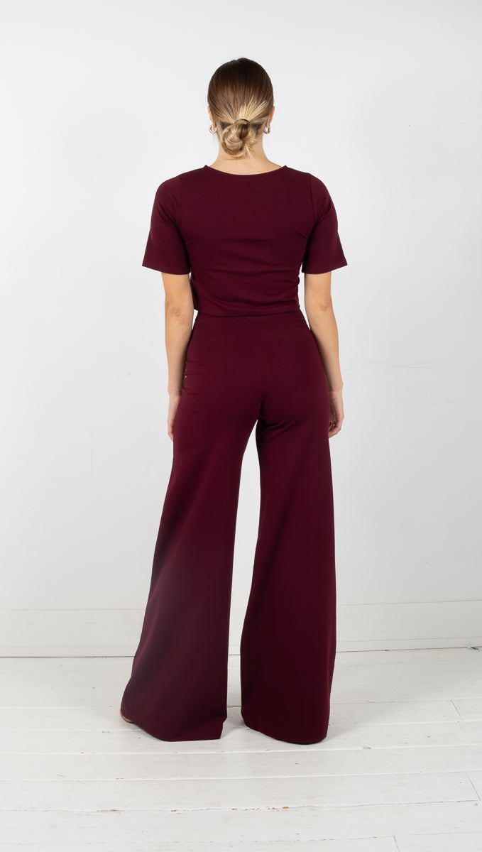 Wide Leg Pant - Elderberry
