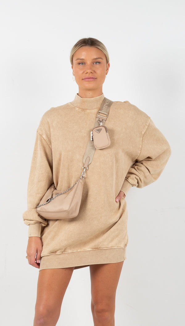 Lauren Mock Neck Oversized Sweatshirt - Tan