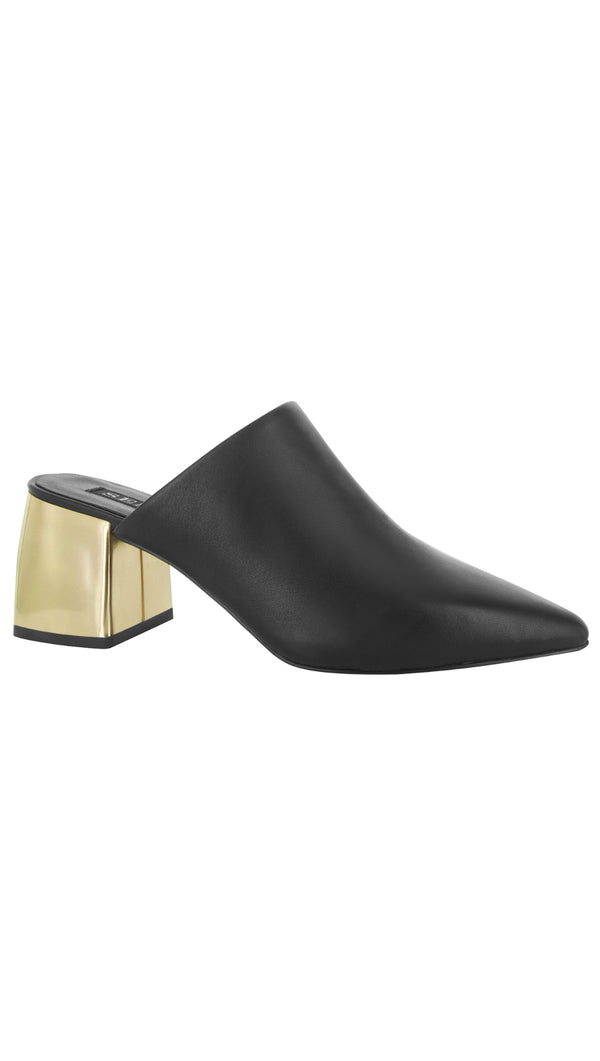 Senso Black Mules with Gold Accent Heel