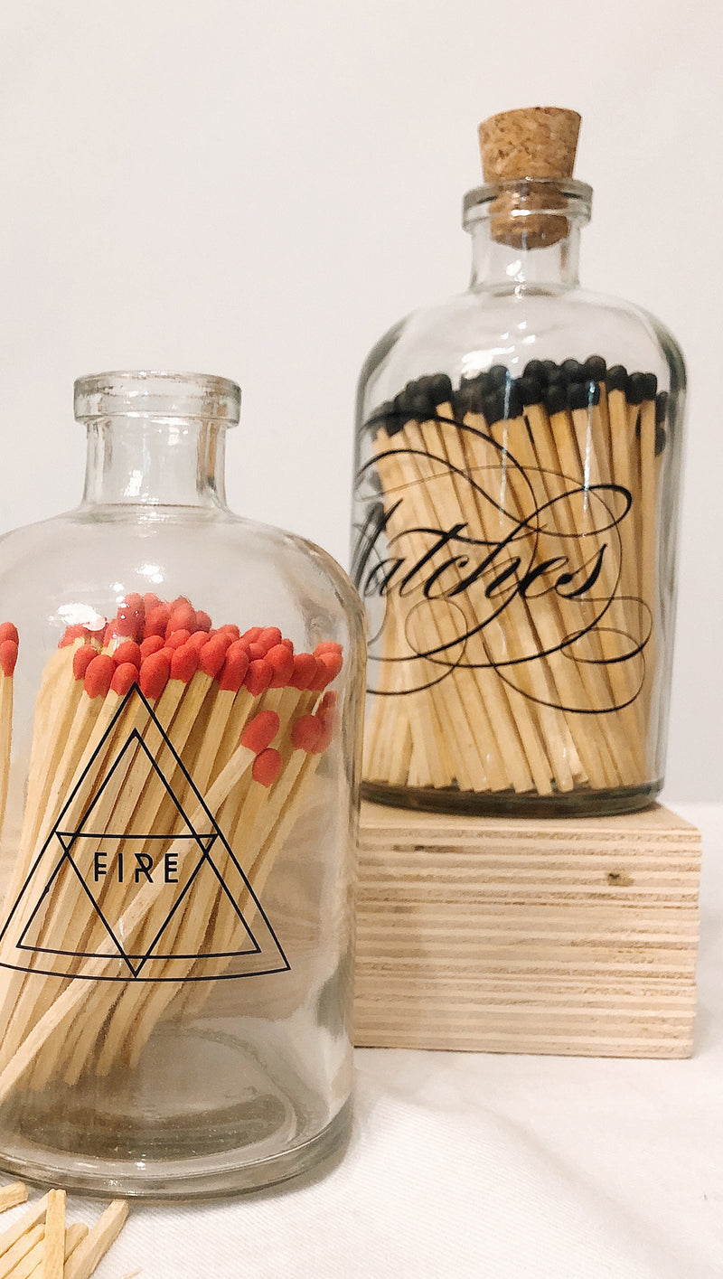 Apothecary Match Large Jar - Calligraphy