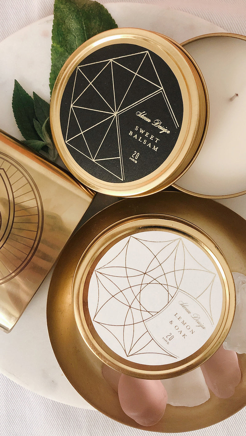 Axiom White Tin Candle - Lemon & Oak