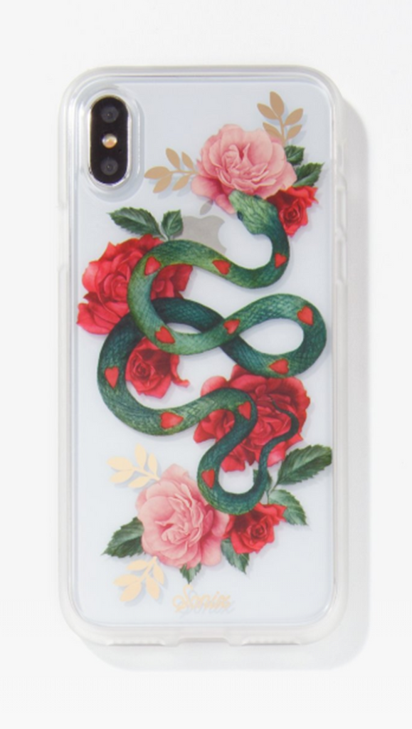 Snake and Floral Print iPhone Case