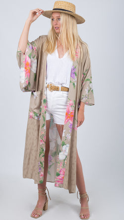 Spell Taupe Floral Robe