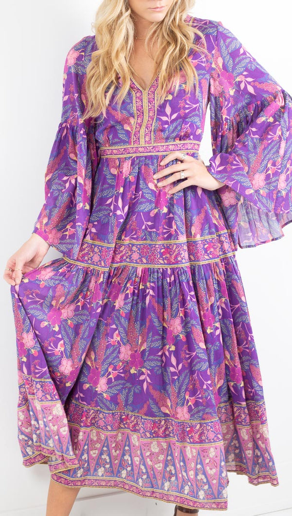 Spell purple boho print maxi dress with flowy long sleeves
