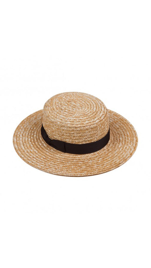 The Spencer Boater - Natural Straw/Black