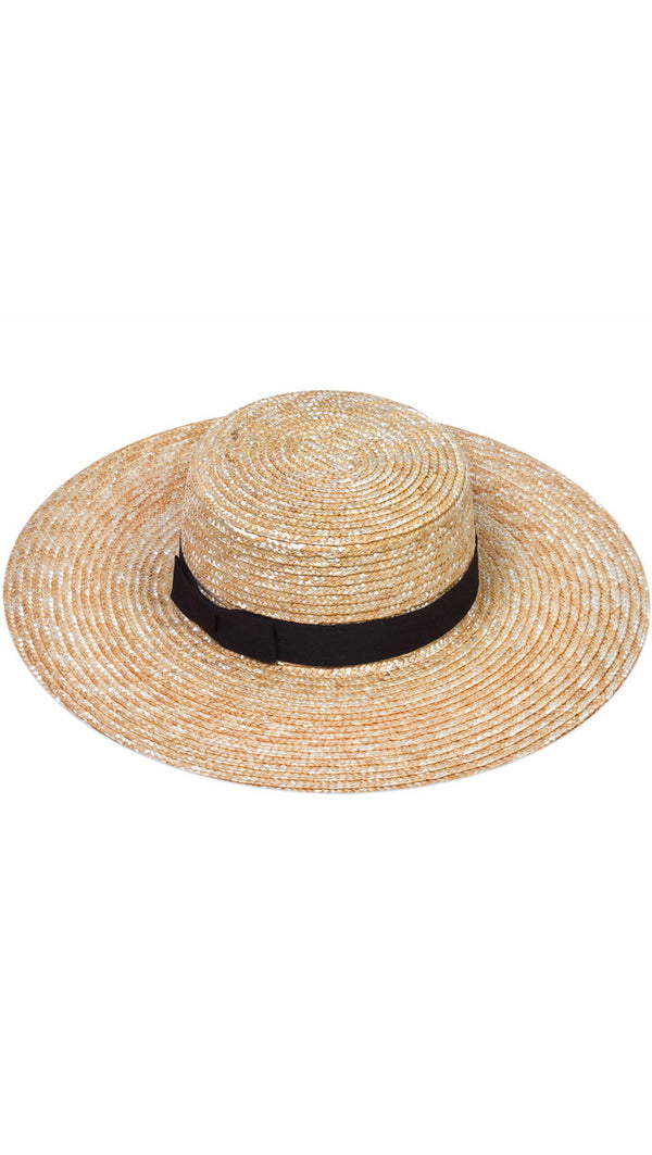 The Spencer Wide Brimmed Boater - Natural Straw/black