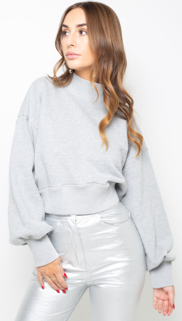 Blake Mock Neck Sweatshirt - Medium Heather Grey