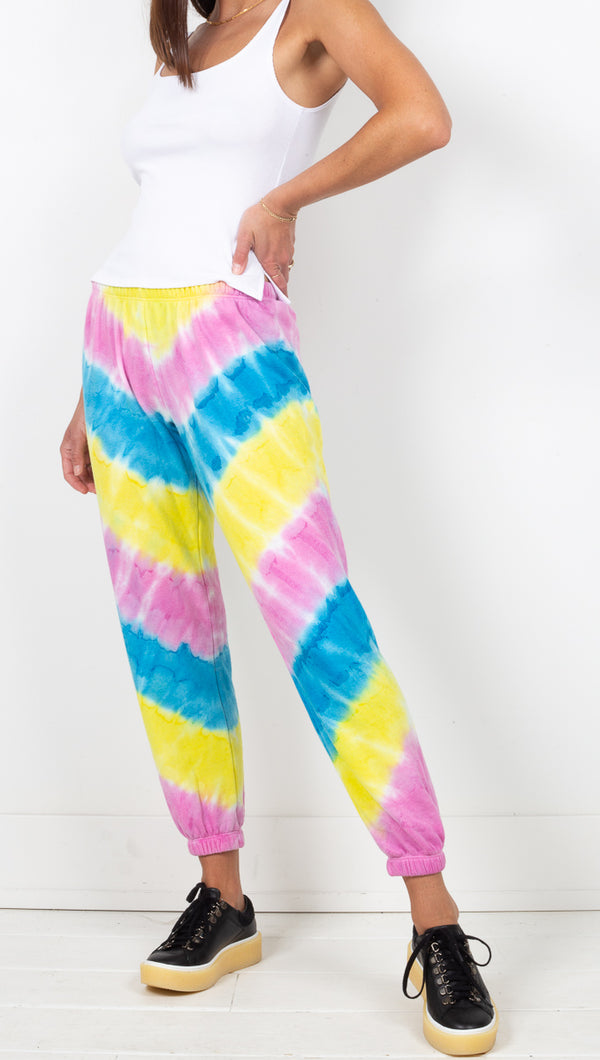 Spiritual Gangster Rainbow Tie Dye Low Rise Sweatpants
