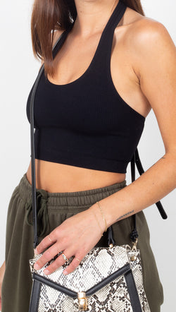 Spiritual Gangster Black Ribbed Halter Crop Top