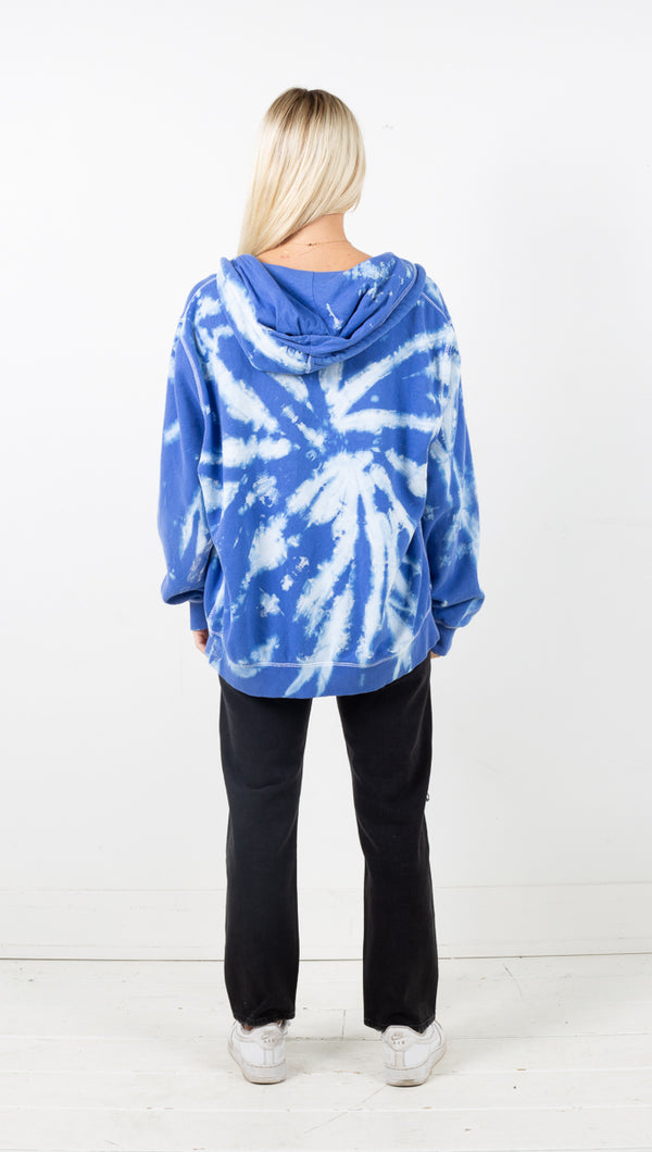 Vintage Sport Zip Up Hoodie - Royal Blue Tie Dye