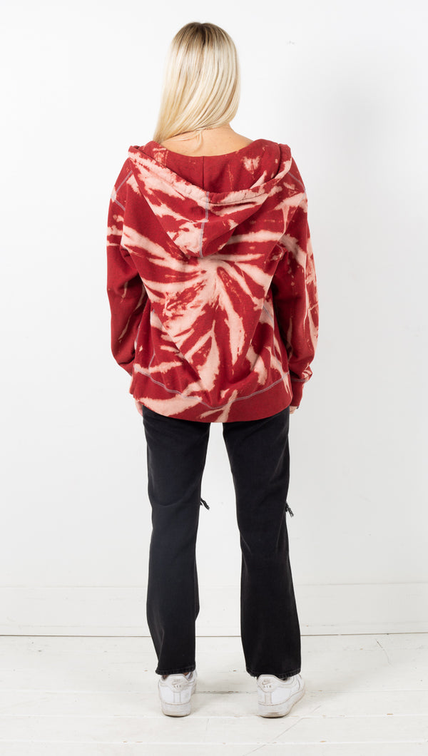 Vintage Sport Zip Up Hoodie - Red Tie Dye