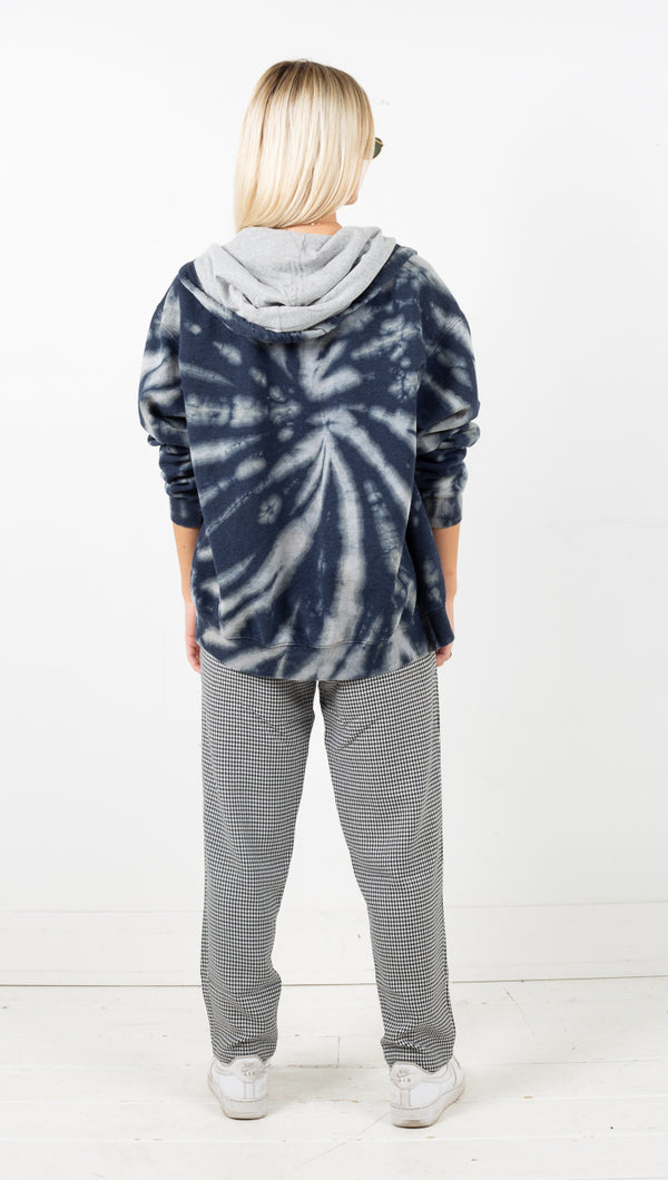 Vintage Sport Zip Up Hoodie - Grey Tie Dye