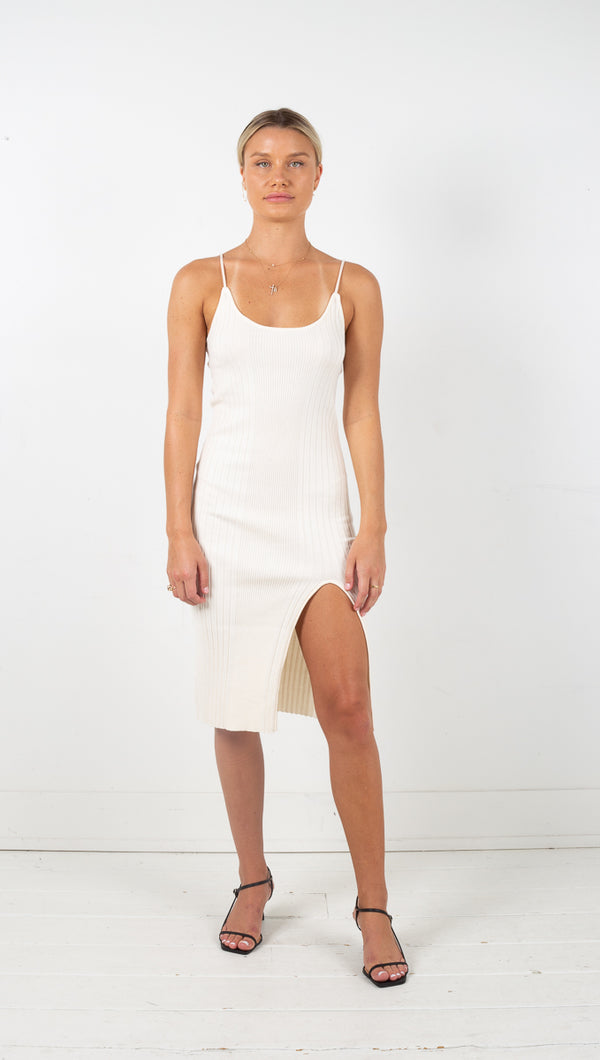 Strappy Knit Dress - Cream