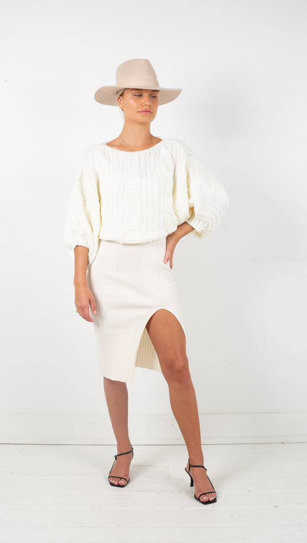Marisa Chunky Cable Knit Sweater - Ivory