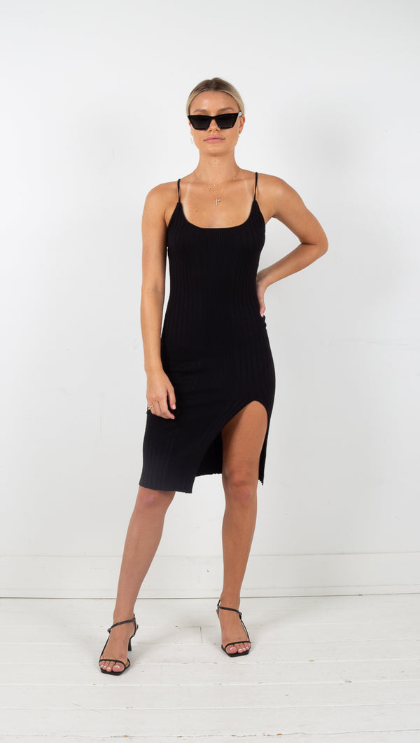 Strappy Knit Dress - Black