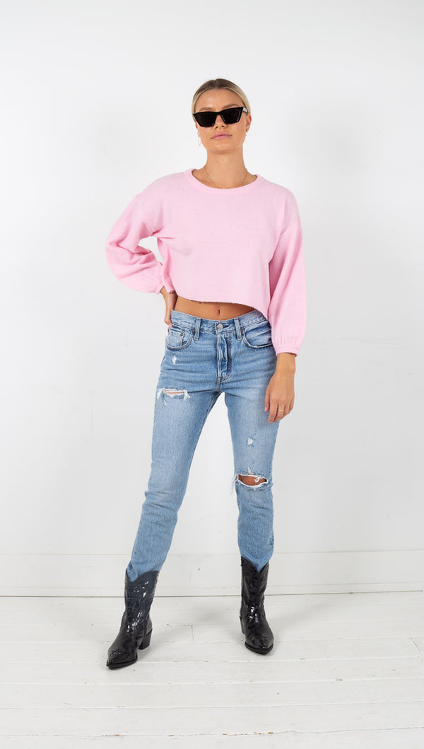 Paige Bubble Sleeve Sweater - Pink
