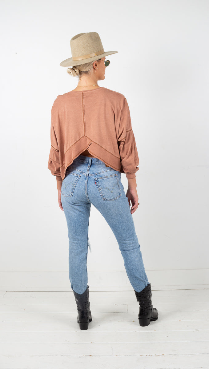 Tucson Washed Long Sleeve Top - Brown Sugar