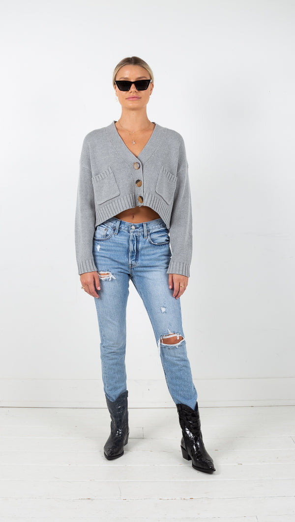 Jamie Cropped Boxy Cardigan - Grey