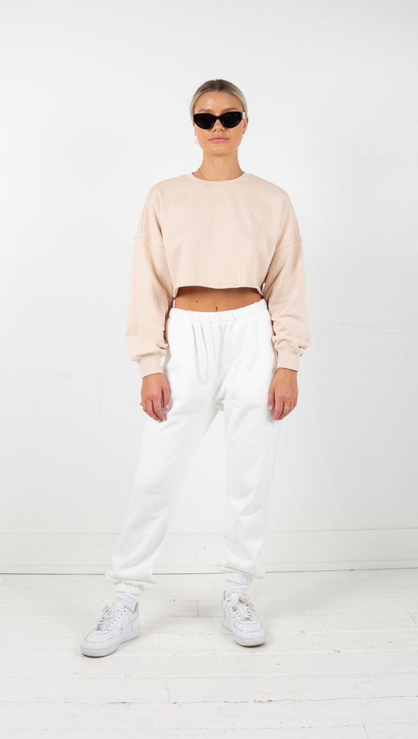 Catalina Crop Sweatshirt - Buff