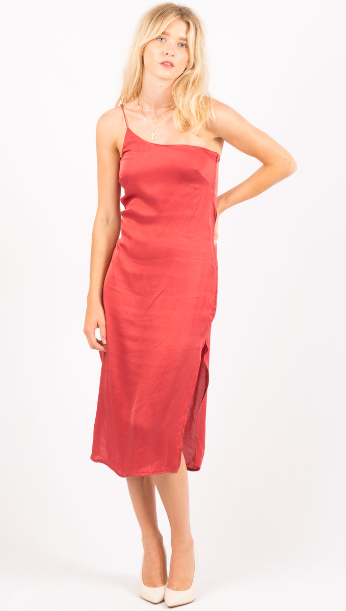 Stillwater Burnt Red One Shoulder Midi Dress