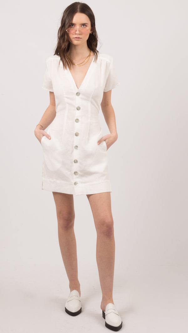Stillwater White Linen Blend Short Sleeve Button Mini Dress